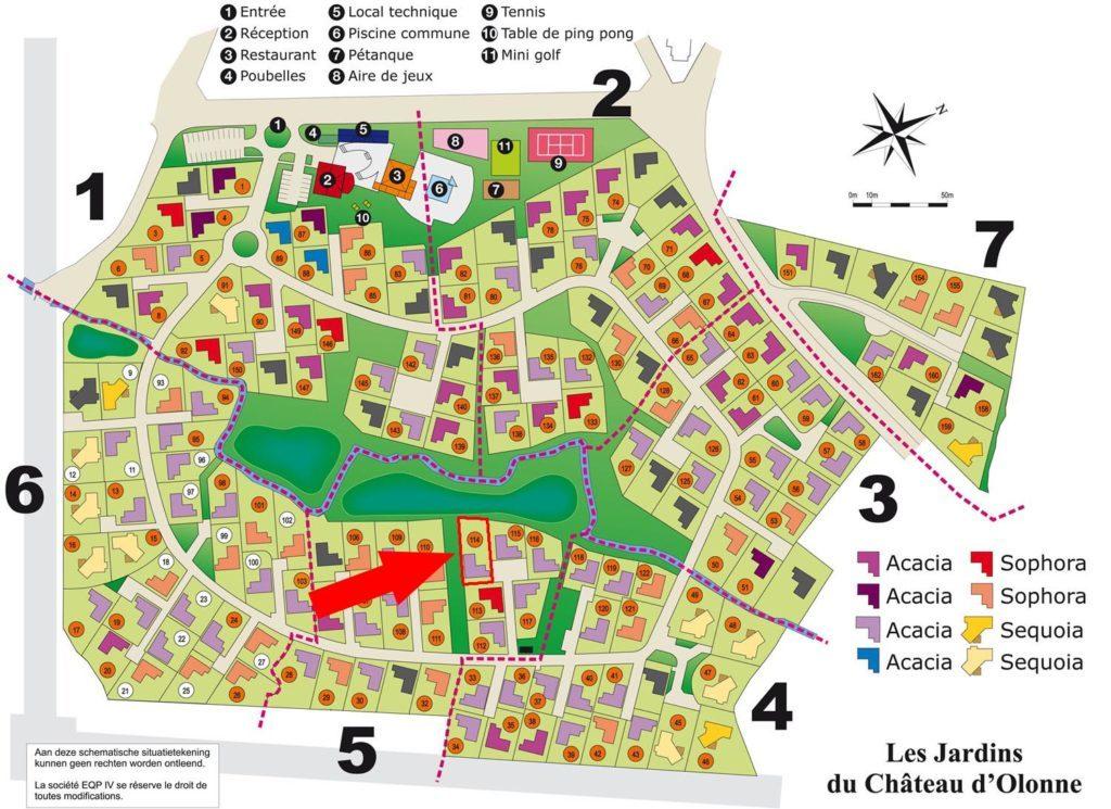 Villa La Dolce Vita Les Jardins des Sables d'Olonne Vendee Frankrijk plattegrond Parc Les Jardins des Sables